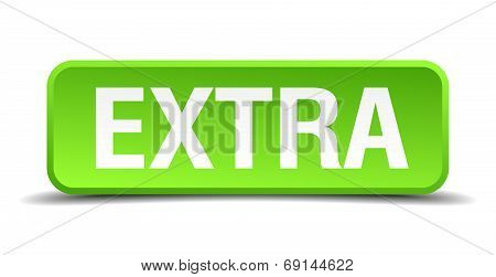Extra Green 3D Realistic Square Isolated Button