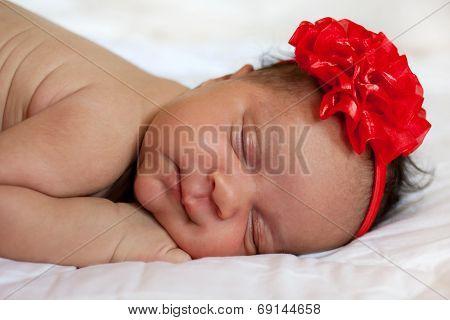 Mulatto Newborn Baby Girl Sleeping.