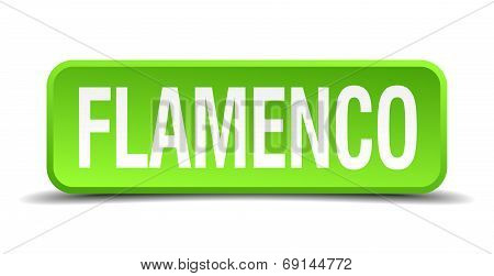 Flamenco Green 3D Realistic Square Isolated Button