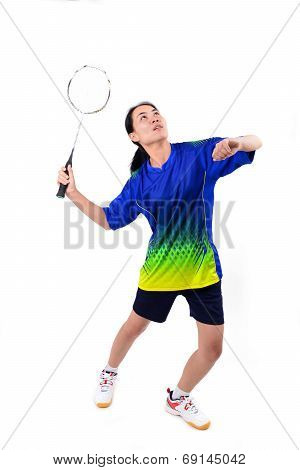 Badminton Player In Action