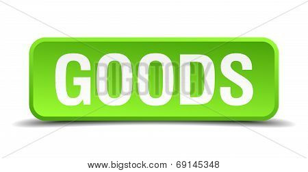 Goods Green 3D Realistic Square Isolated Button
