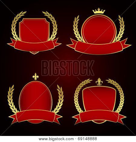 Set of Red Royal Labels with Golden lining and laurel leaves