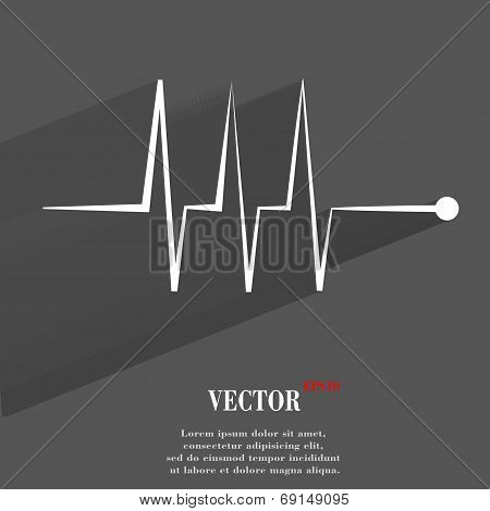 heart rhythm. Flat modern web button with long shadow and space for your text