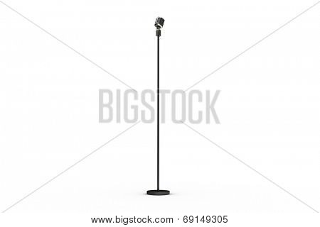 Digitally generated retro microphone on stand on white background