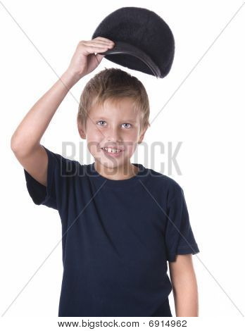 Caucasian Boy Wearing Ball Cap