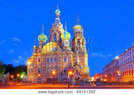 Russia, St  Petersburg  Night look  Cathedral Church of the Savior on Blood