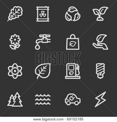 Green ecology web icon set 3, grey set
