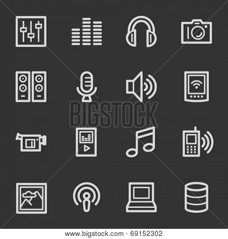 Media web icons, grey set