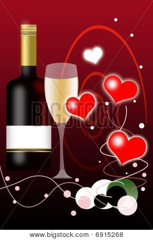 Valentines Day Background And Wine Bottle With Blank Label