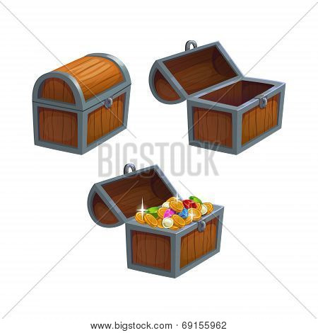 Cartoon chest in three positions