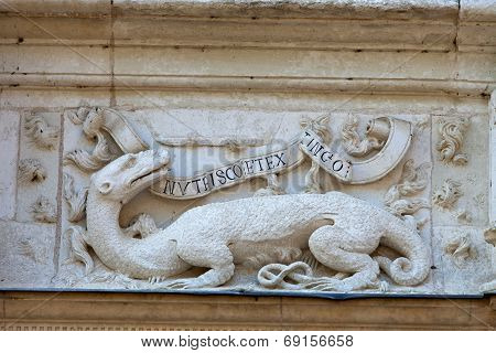 Salamander of Francis I . Azay-le-Rideau castle in the Loire Valley France
