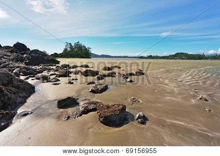 Pacific coast of Vancouver Island at sunset. Low tide exposes the wet sand and bottom stones