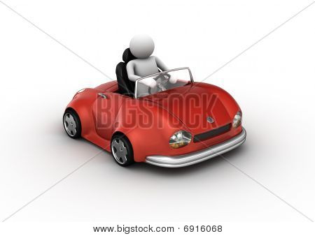 Red Cabrio Car Driven By Character