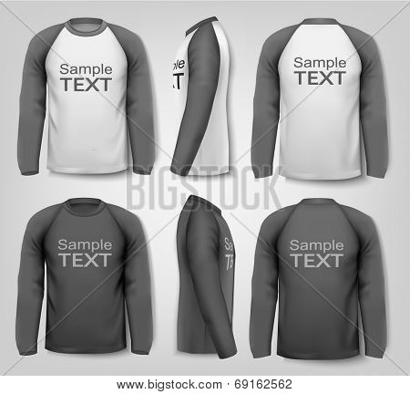 Male long sleeved shirts. Design template. Vector.