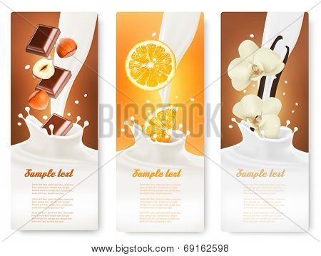 Set of banners with hazelnuts, chocolate, oranges and vanilla falling into milk splashes. Vector.