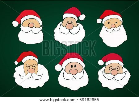 Funny Hand Drawn Santa Clauses Set on Dark Green Background