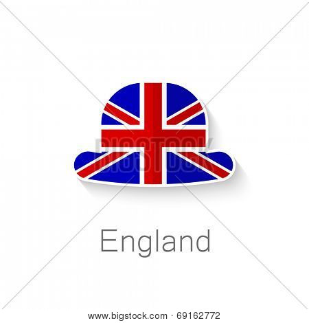 Flat icon - English hat - a hat in the color of the flag of Britain.