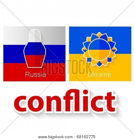 The conflict between Russia and Ukraine - symbolic illustration - flags of both countries and their symbols: Russian doll - matryoshka and Ukrainian flower - sunflower with inscription - conflict