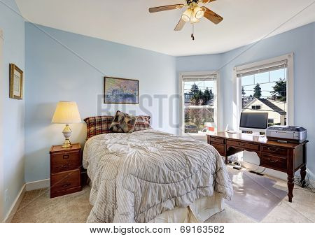 Light Blue Bedroom With Office Area