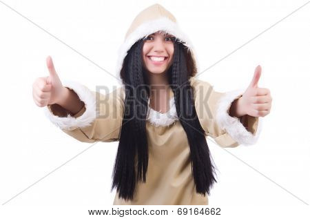 Woman eskimo isolated on white