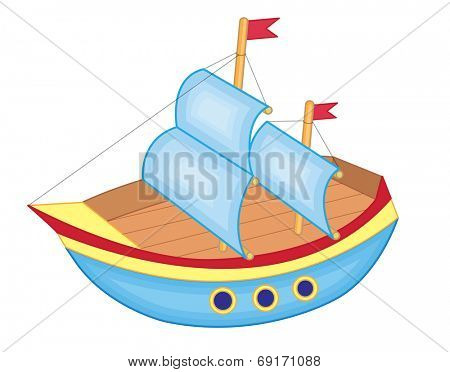cute toy ship (vector illustration)