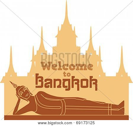 Reclining Buddha on the background of Wat Ratchanadda. Editable vector illustration.