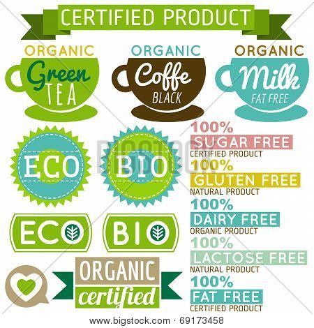 Set Of Natural Organic Product Labels And Emblems, Vector