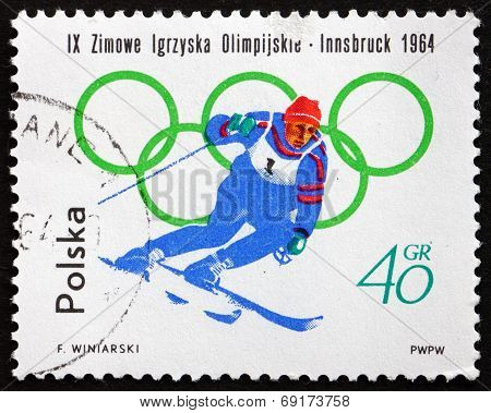 Postage Stamp Poland 1964 Skiing