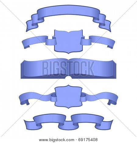 set of blue ribbons with books
