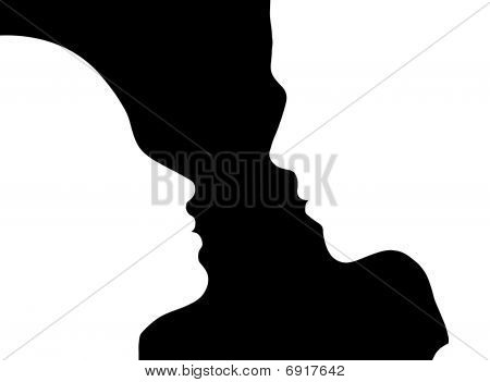 Profile Silhouette  Of Couple