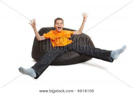 Young Man On Bean Bag