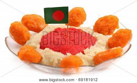 Bangladeshi Cuisine Halua Or Halva With National Flag