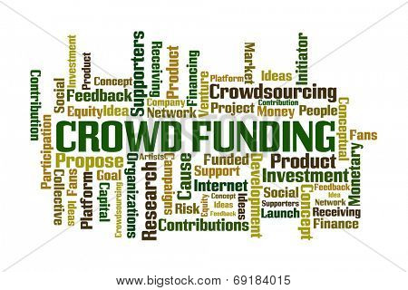 Crowd Funding word cloud on white background