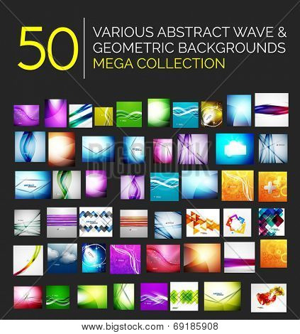 Abstract blurred waves and shiny designs set - 50 abstract backgrounds - huge mega collection