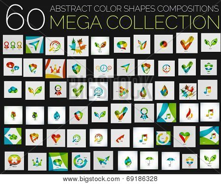 Vector abstract colorful shapes various concepts - huge mega collection. Abstract compositions created with separate overlapping color shapes