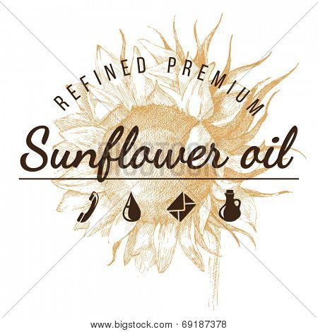 oil emblem  over hand drawn sunflower sketch