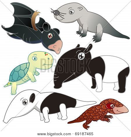 Six Animals On White Background
