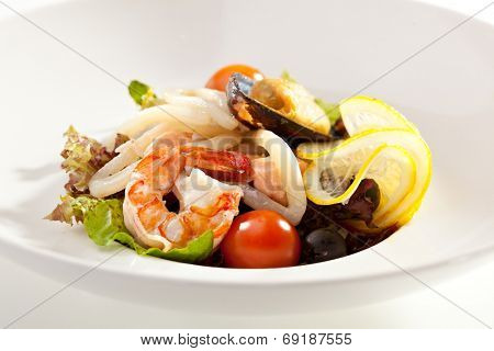 Seafood Salad with Shrimp, Mussel and Calamari Rings
