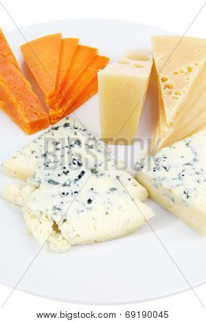 french delicatessen aged cheeses chops served on white plate with slices isolated on white background