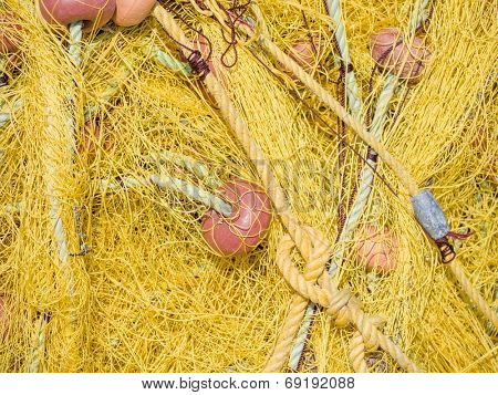 Yellow fishing nets with floats