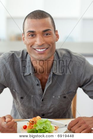 Portrait Of Ethnic Man Dinning