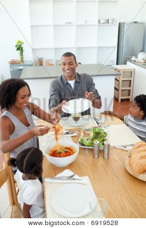 Afro-american Family Dining Together