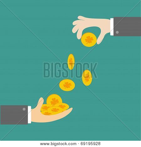 Hands Giving Four Leaf Clover Gold Coin. Flat Design Style.
