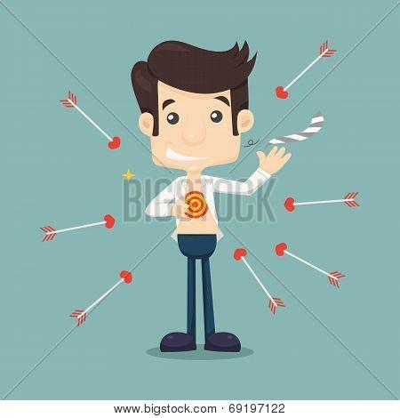 Businessman Tearing His Shirt To Show Target Symbol