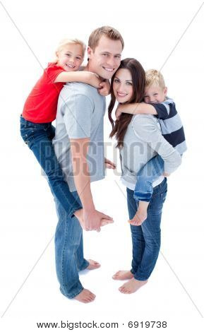 Merry Family Enjoying Piggyback Ride