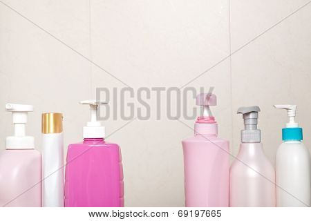 Toiletry Bottles In Bathroom