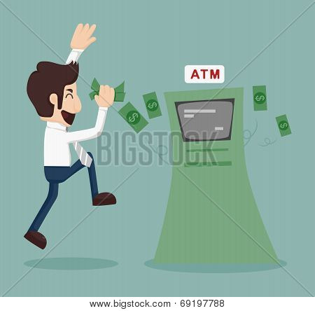 Businessman Withdrawing Money From Atm
