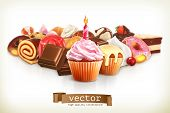 image of cupcakes  - Festive cupcake with candle - JPG