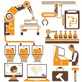 stock photo of habilis  - manufacturing and production line icons - JPG