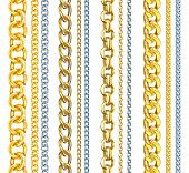 pic of chain  - Set of realistic vector gold and silver chains - JPG